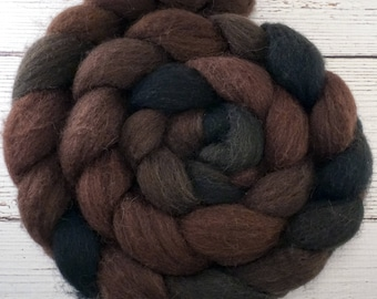 Handpainted Dark BFL Wool Roving - 4 oz. OUTLAW - Spinning Fiber