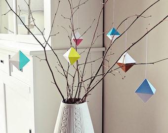 Ahoj-2012 DIY geometry paper diamond, Papierdeko, triangles, shrub jewelry, Frühlingsdeko, Sommerdeko, pastel, trailer