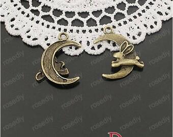 10 charms in bronze 22 * 16MM Moon rabbit D25058