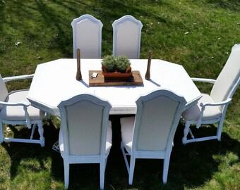 Refinished Vintage Farmhouse Style White Table and 6 Chairs, Shabby Chic White Table and 6 Chairs, French Provencal White Table and 6chairs