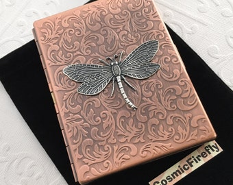Victorian Dragonfly Cigarette Case Rustic Antiqued Copper Case Gothic Victorian Style Copper Steampunk Case Silver Dragonfly Copper Case