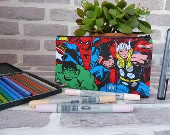 Marvel superhero pencil case, Marvel pencil case, Christmas gift, Back to school gift, gift for him, Marvel gift, school supplies,
