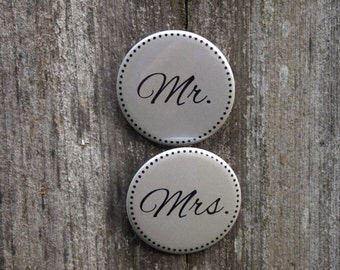 Rehearsal Dinner Mr. and Mrs. Wedding Buttons