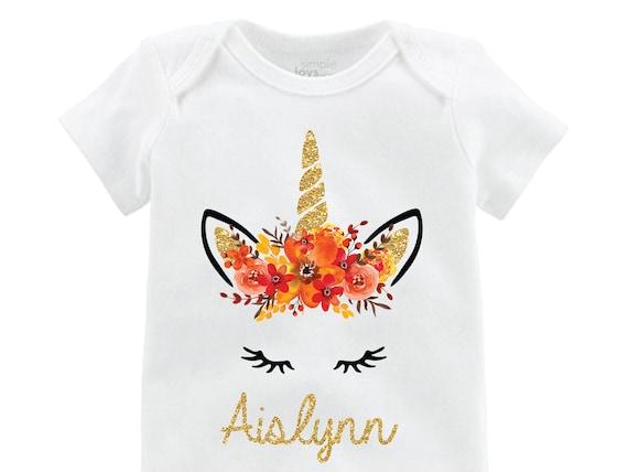 Fall Unicorn Face Flutter Shirt Personalized Onesie Flutter Sleeve Unicorn Black Raglan Birthday Shirt Girl Shirt Monogram Gold Fall Floral