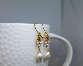 Petite White Pearl & Peach Swarovski  and freshwater pearl Earrings dangle drop