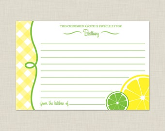 Printable Lemon Recipe Card