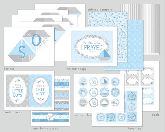 Lds Baby Boy Paper Boats Blessing Party Printable Set Or