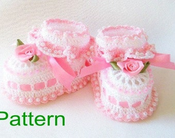 PDF Pattern Crochet Baby Booties Ruffles and Roses Original Design