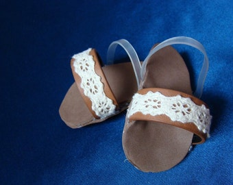 """Real Leather and Lace Sandals, Doll Shoes, Flip-Flops; for American Girl Style 18"""" Dolls! Fall and School Doll Clothes."""