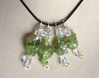Peridot Pendant One Small Wire Wrapped Necklace Jewelry