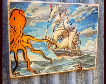 Octopus Mixed Media Graffiti Art Painting on Photo Transfer Original Art on Handmade Canvas Home Decor Pop Art Gallery