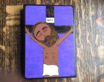 4 X 6 inch Jesus dies on the Cross Crucifix Byzantine Folk style icon on wood by DL Sayles