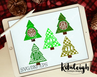 Patterned Christmas Tree Monogram Frames .DXF, .SVG, .EPS Files for use with programs such as Silhouette Studio or Cricut Design Space