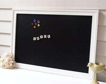 MAGNETIC CHALKBOARD for Playroom or Kids Room - Framed Magnetic Blackboard Cottage Magnet Board 20.5 x 26.5 Handmade White Wood Frame