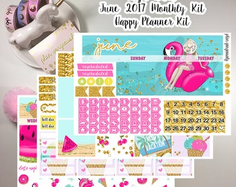 "Happy Planner Monthly Sticker Kit - ""High Tides"" - June Monthly Kit - June 2017 Monthly Kit"