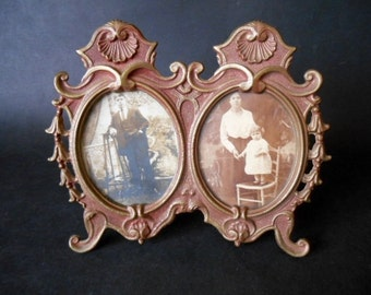 Antique Double Picture Frame With Black and White Photos - Vintage Retro Standing Brass Photo Frame For Double Pictures - 1900s Interior.