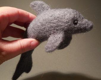 Needle Felted Dolphin / Bottlenose Dolphin Wool Sculpture / Sea Animal Waldorf Figurine / Nautical Beach Life Decoration