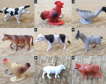 Horse and Farm Animal Accessories - Necklaces and Keychains - Horse, Chicken, Goat, Hen, Cow, Pig and more!