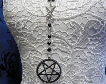 Satanic Rosary, Lucifer Sigil and Pentagram, Black or Red