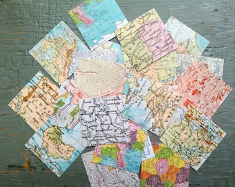 """25 World Map Stickers, 1.5"""" or 2"""" squares, Travel stickers, vintage map stickers, envelope seals, eco-friendly stickers, recycled stickers"""