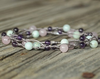 Unconditional Love, Amazonite, Rose Quartz, Amethyst, Knotted Necklace, Crystal Healing, Meditation, Yoga, Hypoallergenic