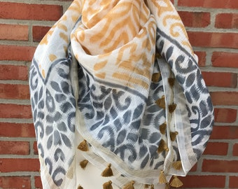 Cotton Silk Ikat printed scarf with tassels, gift, fashion, Eco-friendly, luxurious, authentic, beautiful, seasonal, special