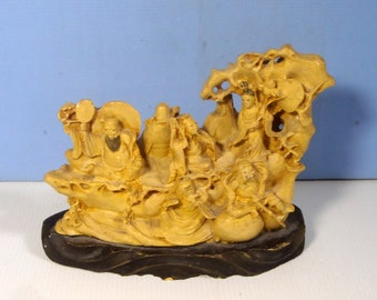 Vintage Chinese Deities 8 Immortals Cast clay resin circa 1980s used