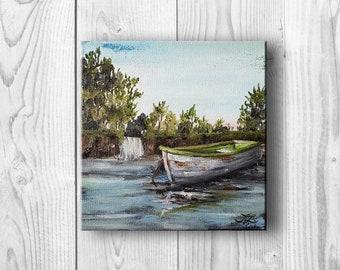 "Original oil painting, landscape, small painting, wall decor, ""Small Jon Boat"""
