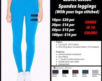 American apparel Ladies cotton spandex leggings ( with leg logo Embroidered )