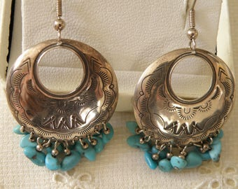 Native American Etched Turquoise Earrings - signed and marked 925