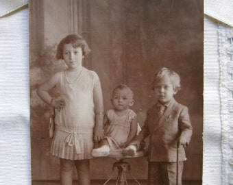 Vintage children photography. Sepia. 1900s. Collectible. Ephemera. Children postcard. Rare. Jose More Studio. Vintage paper. Antique paper.
