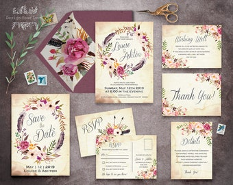 floral wedding invitation set printable boho wedding invitation suite vintage romantic wedding bohemian wedding watercolor floral wreath BSP