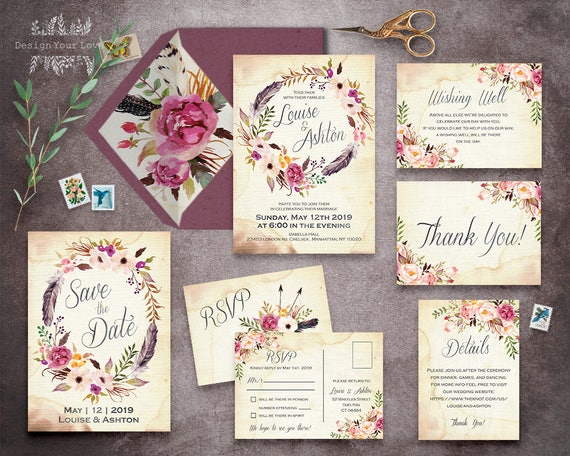 floral wedding invitation set printable boho wedding