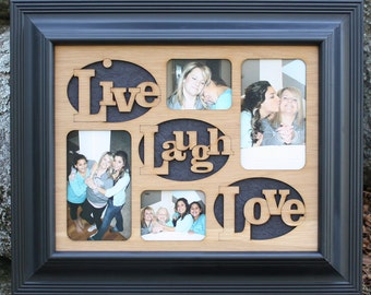 11x14 Live Laugh Love Wood Mat Collage Insert for Frame