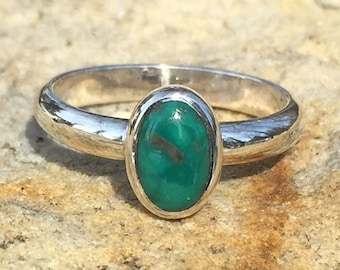 Simple little sterling silver oval turquoise ring, gemstone ring, teal colored