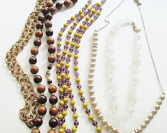 Vintage Jewelry Lot of 5 Necklaces All Wearable Excellent Condition To Wear For Resale