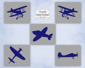 Printable Antique Vintage Planes Airplanes Bi-planes Navy Grey Nursery Wall Art Decor Baby Child Kids ~ DIY Instant Download ~ 5 8x10 Prints