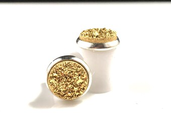 Shiny Gold Round Druzy Drusy Plugs Gauges in Silver Bezel Setting in 0g, 8mm Wedding Bridal Bridesmaid