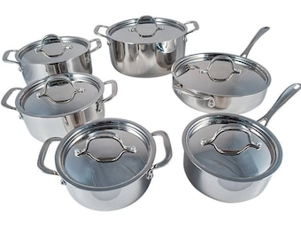 Le Chef 5-ply Stainless Steel 12 Piece Cookware Set.