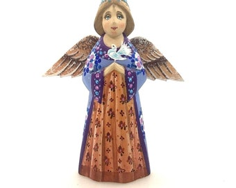 Wooden angel with wings, ornament, handmade and hand painted decoration.