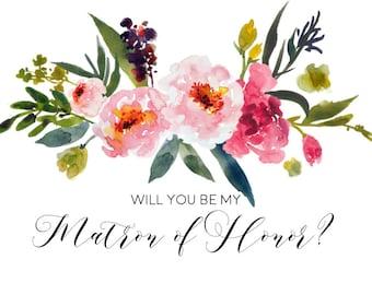 Watercolor Floral Matron of Honor Invitation