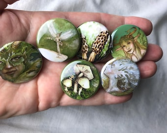 Set of 6 green fairy pins