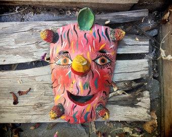 Mexican Mask Wall Hanging, Mexican Folk Art Rustic Home Decor, Bohemian Decor, Colorful Wall Art