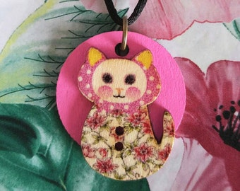 Cat Button on Pink Disc Necklace