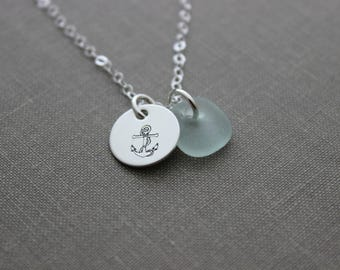 Sterling Silver Anchor Necklace with Sea Glass, Hope, Hand Stamped Sterling Disc, Anchor with Rope, Satin Finish, Simple Beach Necklace