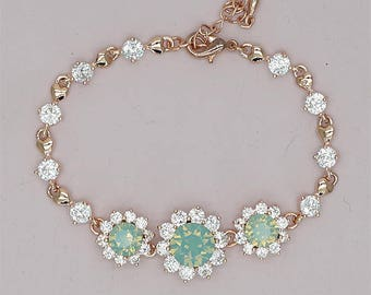 Mint Green Bracelet, Rose Gold Bridal Bracelet, Swarovski Crystal Mint Bracelets Mint Green Bridesmaid Gift, Mint Bridesmaid Bracelet