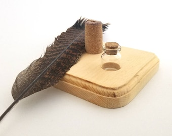 Handmade Turkey Feather Quill Set With Wooden Stand and Ink, Writing Set, Hand Carved Quill