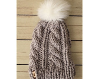 Grey Cable Knit Hat w/ White Faux Fur Pom