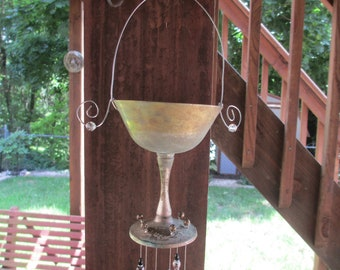 Recycled Vintage Silver Chalice/Goblet Silverware Wind Chime