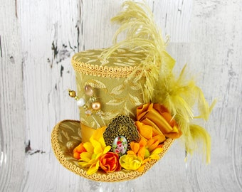 Gold, Yellow, and Orange Cameo and Flower Large Mini Top Hat Fascinator, Alice in Wonderland, Mad Hatter Tea Party, Derby